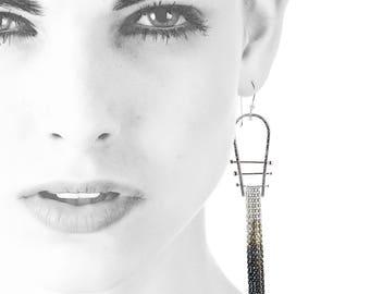 Sterling Silver Fringe Earrings | Solidarity Jewelry | Geometric Dangle Earrings