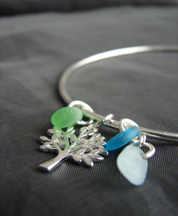 Tree of Life sea glass bracelet in aqua, green, and white