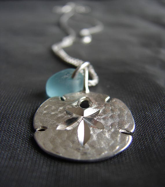 Little Sand Dollar sea glass necklace in aqua