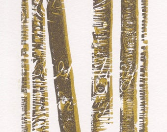Birch trees linocut, 5x7