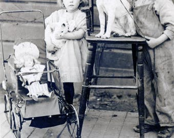 vintage photo 1920 Paul & Opal Lambrecht Montana Children terrier Dog white Cat Doll RPPC