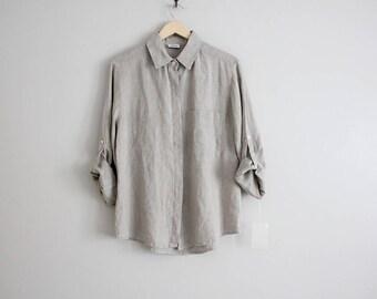 minimalist linen shirt | 90s linen blouse | italian linen