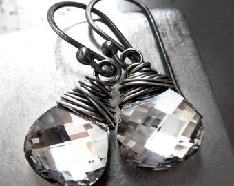 Metallic Silver Chrome Teardrop Earrings with Oxidized Sterling Silver Wire Wrap - Swarovski Crystal Briolette Wire Wrapped Earrings - 6012