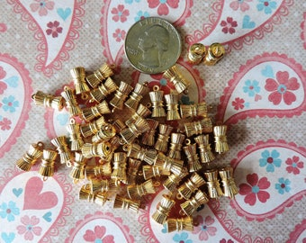 Lot of 40 vintage gold plated brass charms - hourglass pendant - 1970's stock - FREE shipping