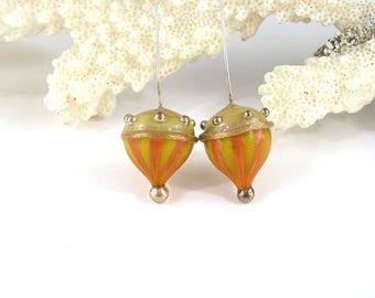 sra artisan lampwork glass headpins flameworked pattylakinsmith patty Lakinsmith matched pairs ocher coral handmade