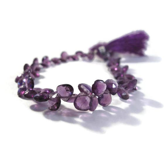 Purple Amethyst Briolette Beads, 8 Inch Strand of Faceted Teardrops, 60 Stones, 6mm x 6mm - 7mm x 7mm (B-Am6d)