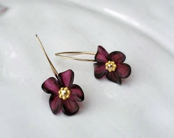 Lucite Flower Earrings Deep Red Wine Gold Filled or Sterling Silver Beauty Gift