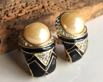 Vintage Rhinestone, Faux Pearls and Black Enamel Earrings, Vintage Clip Ons, Bling Earrings, Big Earrings, Costume Jewelry, Etsy