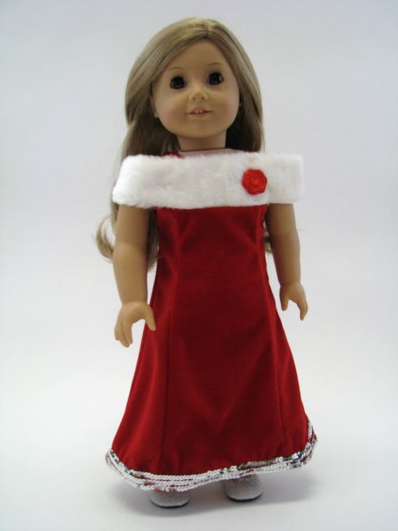 Red Velvet Gown with Fur Trim - 18 Inch Doll Clothes