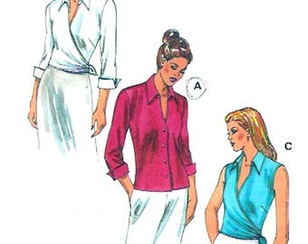 Button front shirts Wrap front tops multi size Kwik Sew 2966 summer casual office sewing pattern Sz XS to XL Uncut