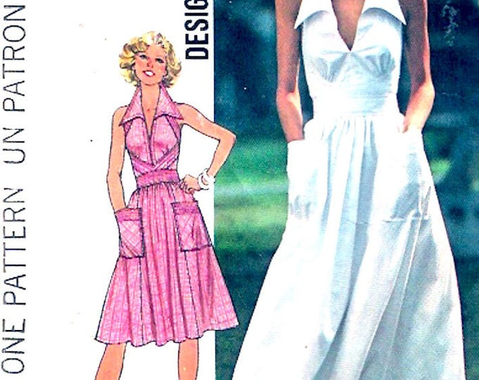 70s Halter dress summer chic party style Bridesmaid small teen fashion Vintage sewing pattern Simplicity 7431 Size 8