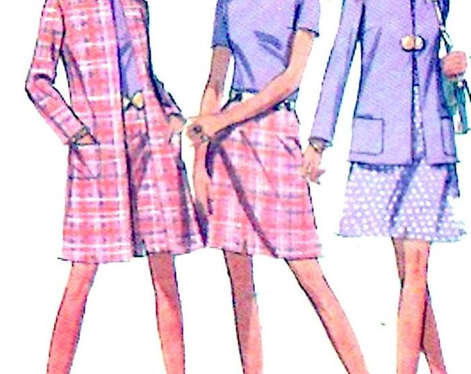 70s Retro coat jacket skirt blouse wardrobe Vintage sewing pattern McCalls 2284 Size 10 UNCUT