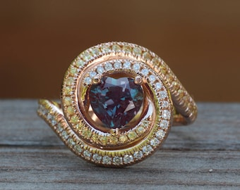 Custom Order for lashae31 - Heart Shaped Lab Created Alexandrite, Yellow Sapphire and Diamond Swirl Ring in 18k Rose Gold - Final Payment