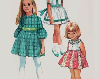Vintage 1970s Girl's High Waist Party Dress Full Skirt Dress Sewing Pattern Simplicity 8714 Children's 70s Pattern Size 4 Breast 23 UNCUT