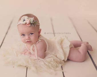 Knit Romper, Ruffle Bottom Romper, Mohair Onesie Ruffle Bottom, Newborn Photo Props