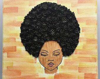 Big Hair Button Art