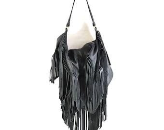 Noelle - Black Leather Hobo Shoulder Bag Handmade SS18
