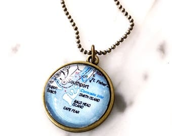 Bald Head Island Necklace - Outer Banks Necklace - North Carolina Necklace - Map Necklace - Map Charm - Charm Necklace - Wanderlust Necklace