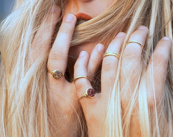 Druzy Stacking Ring , Rainbow Quartz in Gold , Sterling Silver , Rose Gold , Multicolor Bezel Wrapped Stackable Rings - Unicorn