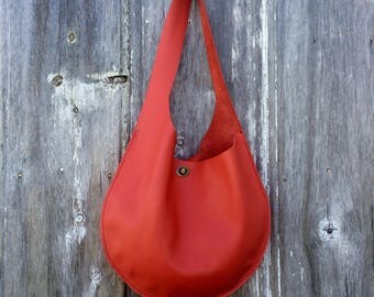 Leather Oval Sling Bag in Poppy Red Leather by Stacy Leigh