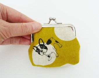 Coin purse, Boston Terrier fabric, French Bulldog fabric, mustard yellow and cream, cotton purse