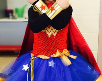 SALE Child size Classic Wonder Woman Tiara and Cuff Bracers Accessory Set in Gold Kids Girls Costume Adjustable Custom Fit