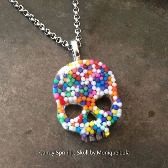 Real Candy Sprinkle Sugar Skull Necklace Day of the Dead