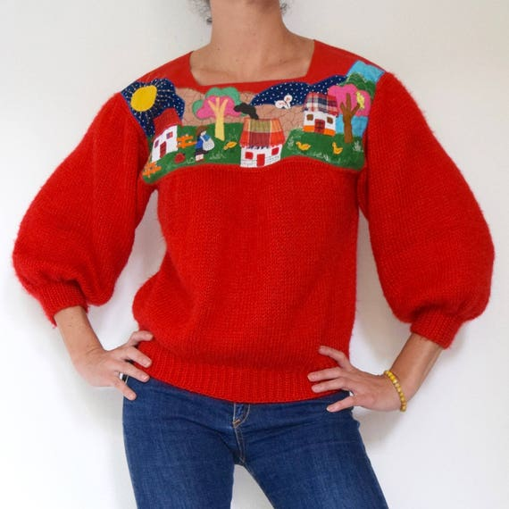Vintage 80s 90s Red Knit Pullover Sweater with Village Scene Appliqued Panel (size small, medium)