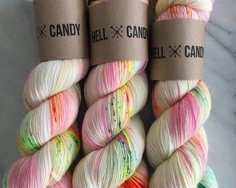 CONFETTI - hand dyed by Hellcandy superwash merino nylon sock weight yarn