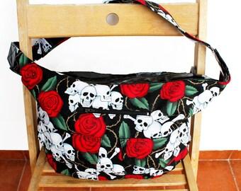 Skull N Roses print vinyl detail slouchy handbag | vegan hobo bag | womens bag everyday