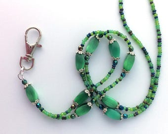 Green Beaded ID Badge Lanyard - Green Oval Cat Eye Beads - ID Necklace