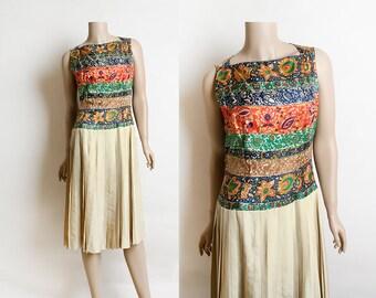 Vintage 1960s Silk Dress - Paisley Autumn Tone Colorful Floral Print Pleated Skirt Dress - Norman Wiatt - Small Medium