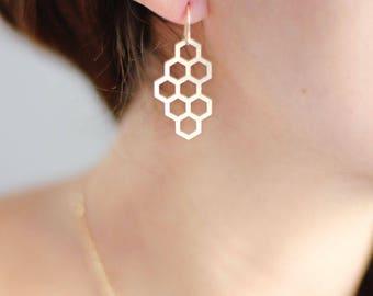 Honeycomb Earrings | Brass Earrings | 14k Gold Filled Earrings | Sterling Silver Earrings | Honey Comb Earrings