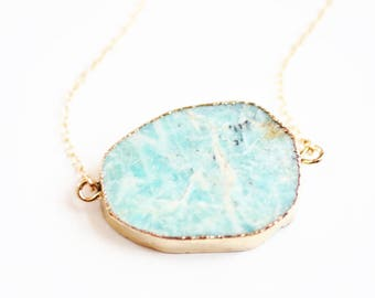 Long Amazonite Slab Gold Edged Stone Necklace - 14k Gold Fill Chain