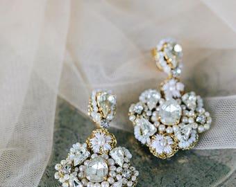 Chandelier Wedding Earrings | Gold Bridal Earrings | Crystal Earrings | Pearl Stud Earrings | Vintage Bridal Earrings | Statement Earrings