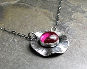 Poppy necklace flower pendant layering necklace ruby red july birthstone nature jewelry gemstone metalsmith - Poppy Fields Ruby