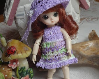 Crochet clothes outfit Jun Planning Ai  Hujoo BJD 12cm 4.7  5 inches doll Wide Brim Hat Dress Lavender Green white