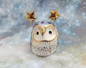 Striped Fairy Owl Ceramic Figurine with Gold Luster