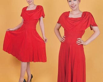 BEAUTIFUL Vintage 30s 40s Red Crepe Rayon PIN-UP Swing Party Dress Art Deco M/L