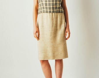 ON SALE Vintage Plaid Linen Two Piece Skirt Set