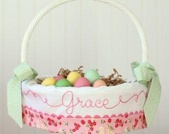 PRE-ORDER 2019  Easter Basket Personalized, Pink Floral Easter Basket Liner fits Pottery Barn Kids Easter Baskets, Monogram Easter Basket