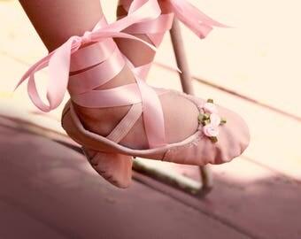 Embellished flower girl shoes, Upcycled ballet slippers, Toddler girl shoes, Little girl ballet, Pink flower girl wedding shoes, Size 7 - 8