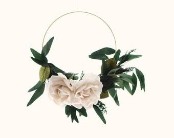 Bridal flower hoop, boho wedding bouquet, Preserved greenery wreath, Ivory velvet roses, Eucalyptus Cypress, Natural home decor, Gold lace