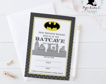 Instant Download Batman Birthday Invitation