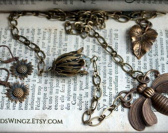No Life Without Bees necklace and small sunflower earrings set. Carefully hand aged brass. OOAK. (Nature-lover's gift)