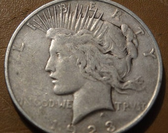 1923 Peace Silver Dollar (D) Coin antique coins for Jewelry Jeweler Numismatic Coinage Retro Americana Coinage 1920's Lot #37