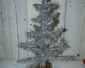 Vintage Music Turning Tinsel Tree, 1940's Soft Tinsel, Mid Century Christmas Tree, Silver Tinsel Tree, Foil Branches, Rare Christmas Tree