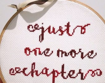 Just One More Chapter - cross stitch pattern PDF instant download