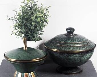 Vintage Verdigris Brass Bowls, Two Lidded bowls made in Israel