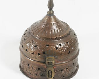 Vintage Brass and Copper Hinged, Lidded Cricket Box